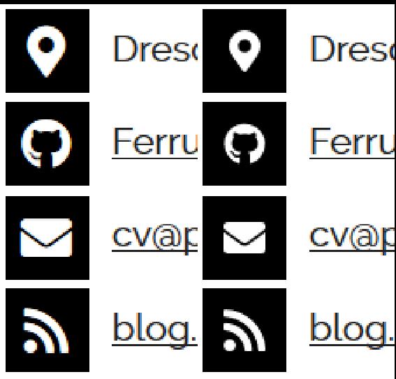 Zwei Screenshots von meine CV-Website, die die Logos im oberen  Teil der Seite zeigen, einmal unter Nutzung des Webfonts und einmal unter  Nutzung der SVGs. Letztere sind merklich kleiner.